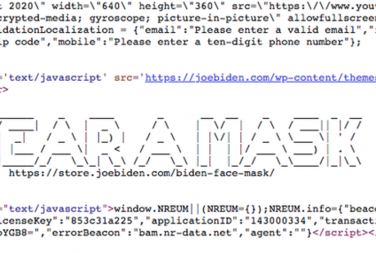 Joe Biden Supports Wearing Facemask through a Cryptic Code on His Website