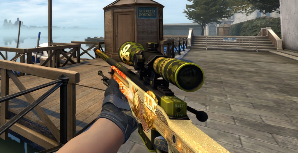 AWP | Dragon Lore from Counter-Strike:Global Offensive, one of the most expensive in-game items ever.
